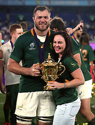 South Africa's Duane Vermeulen with the Webb Ellis Cup following the 2019 Rugby World Cup final match at Yokohama Stadium.