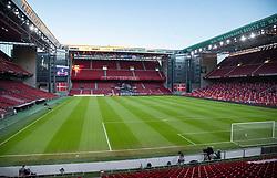 Et kig udover stadion uden tilskuere før UEFA Nations League kampen mellem Danmark og England den 8. september 2020 i Parken, København (Foto: Claus Birch).