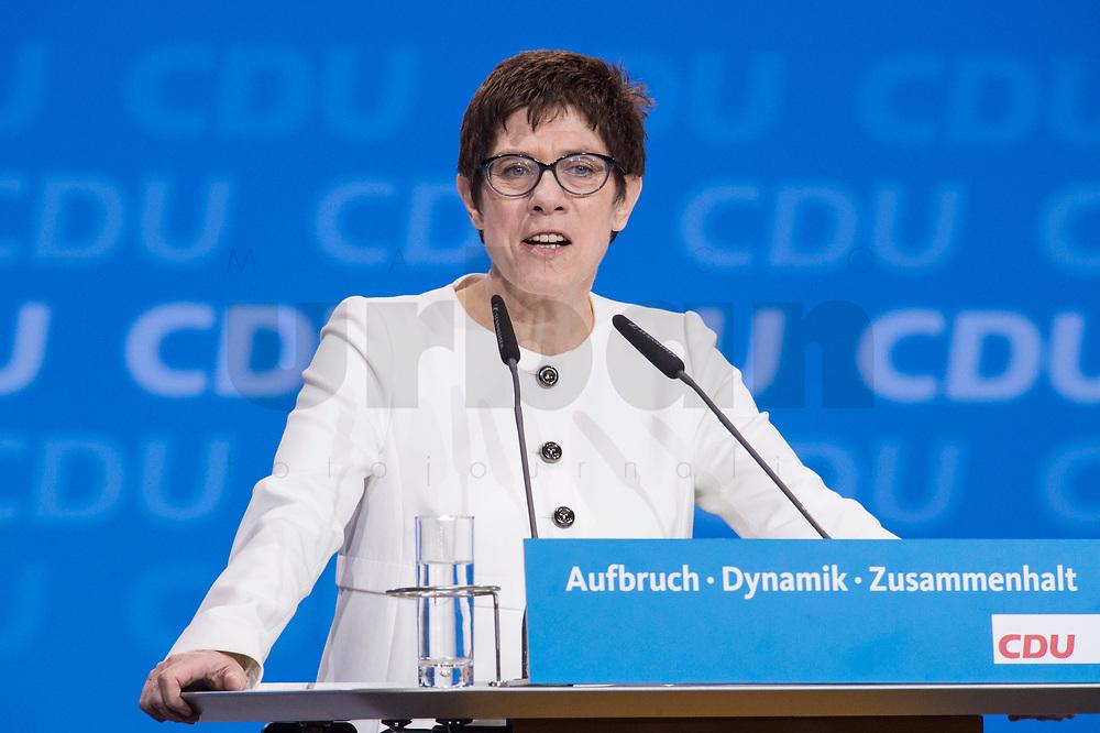 26 FEB 2018, BERLIN/GERMANY:<br /> Annegret Kramp-Karrenbauer, CDU, desig. Generalsekretaerin, haelte eine Rede, CDU Bundesparteitag, Station Berlin<br /> IMAGE: 20180226-01-148<br /> KEYWORDS: Party Congress, Parteitag