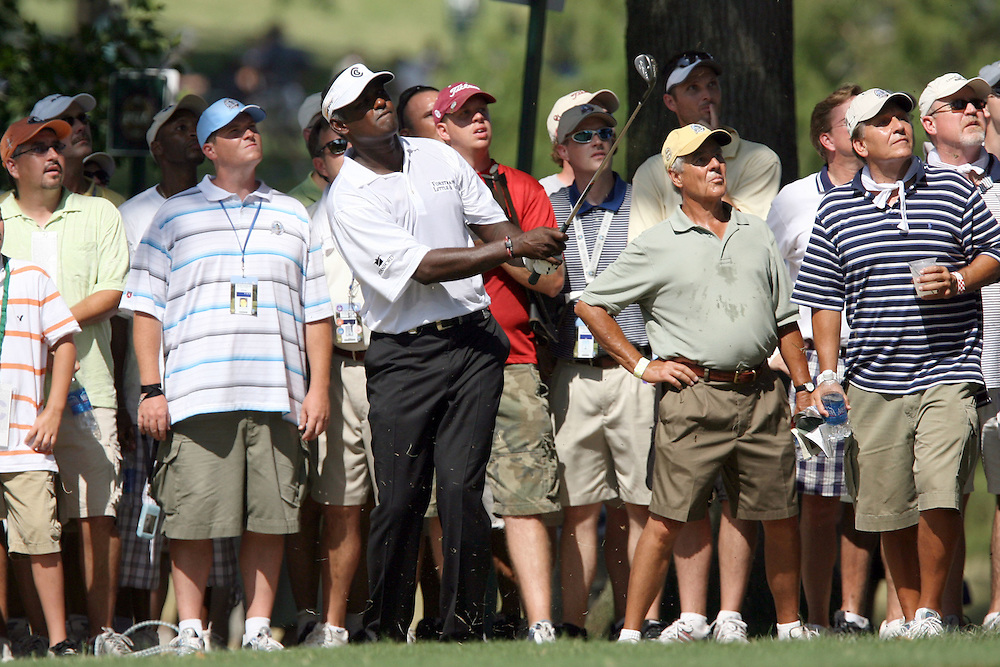 09 August 2007: Vijay Singh hits out of the rough on the 9th hole during the first round of the 89th PGA Championship at Southern Hills Country Club in Tulsa, OK.