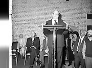 24/08/1984<br /> 08/24/1984<br /> 24 August 1984<br /> Opening of ROSC '84 at the Guinness Store House, Dublin. Lord Iveagh gives his speech at the ROSC 1984 opening. Seated behind are (front row): President Patrick Hillery and Mr Pat Murphy, ROSC Chairman and (back row) Michael Scott and Mr Brian Slowey, Managing Director, Guinness, Ireland.