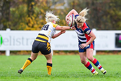 Claire Molloy of Bristol Ladies evades the tackle of Charlie Veale of Wasps Ladies - Mandatory by-line: Craig Thomas/JMP - 28/10/2017 - RUGBY - Cleve RFC - Bristol, England - Bristol Ladies v Wasps Ladies - Tyrrells Premier 15s