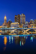 Columbus Ohio night skyline.