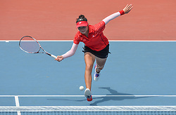 PALEMBANG, Sept. 1, 2018  Yu Yuanyi of China competes during soft tennis women's team quarterfinal between China and Indonesia at the 18th Asian Games 2018 in Palembang, Indonesia on Sept. 1, 2018. China won 2-0. (Credit Image: © Veri Sanovri/Xinhua via ZUMA Wire)