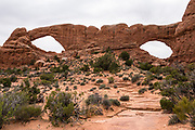 North & South Window Arches. Arches National Park, Moab, Utah, USA. A thick underground salt bed underlies the creation of the park's many arches, spires, balanced rocks, sandstone fins, and eroded monoliths. Some 300 million years ago, a sea flowed into the area and eventually evaporated to create the salt bed up to thousands of feet thick. Over millions of years, the salt bed was covered with debris eroded from the Uncompahgre Uplift to the northeast. During the Early Jurassic (about 210 million years ago) desert conditions deposited the vast Navajo Sandstone. On top of that, about 140 million years ago, the Entrada Sandstone was deposited from stream and windblown sediments. Later, over 5000 feet (1500 m) of younger sediments were deposited and then mostly worn away, leaving the park's arches eroded mostly within the Entrada formation.