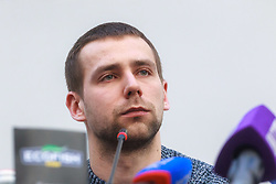 March 1, 2018 - Saint Petersburg, Russia - March 1, 2018. - Russia, Saint Petersburg. - Russian curlers Aleksander Krushelnitsky and Anastasia Bryzgalova give news conference at Yubileyny Sports Palace. The athletes have been stripped of their PyeongChang 2018 Olympics bronze medals in the mixed doubles curling event after Krushelnitsky failed a drug test. In picture: Russian curler Aleksander Krushelnitsky. (Credit Image: © Russian Look via ZUMA Wire)