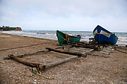 Old Fishing boats on the shore near Bucharest, Romania