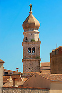 16th century Gothic styled bell tower topped with a 1767 Baroque dome of the Cathedral of Krk, Krk Island, Croatia .<br /> <br /> Visit our CROATIA HISTORIC SITES PHOTO COLLECTIONS for more photos to download or buy as wall art prints https://funkystock.photoshelter.com/gallery-collection/Pictures-Images-of-Croatia-Photos-of-Croatian-Historic-Landmark-Sites/C0000cY_V8uDo_ls
