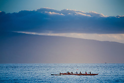 Outrigger Canoe at Dusk off Lahaina, Maui, Hawaii, US