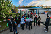 Leicester, United Kingdom, May 19, 2021: People are gathered outside the Elbit UAV Tactical Systems factory to support protestors from Palestine Action outside the Meridian Business Park in Braunstone Town, Leicester on Wednesday, May 19, 2021. (Photo by Vudi Xhymshiti/VXP)