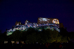 Edinburgh Castle forms the backdrop for the Deep Time event. This epic, outdoor, public artwork event forms the dazzling opening to 2016's festival season, created by Tony award-winning 59 Productions, creators of the acclaimed The Harmonium Project that launched the International Festival 2015. Edinburgh Castle, Sunday 7th August 2016, (c) Brian Anderson   Edinburgh Elite media