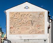 Rzeszów (woj. podkarpackie) 2018-10-11. Widok Rzeszowa z 1962 roku - mural umieszczony na ścianie kamienicy przy ul. Sokoła 2 w Rzeszowie.