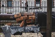 Kohtla-Järve, Estonia - February 22, 2020: Insulation on an old pipe outside the Kohtla-Järve Power Plant in northeastern Estonia.