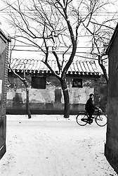 Hutong in the snow in Beijing China