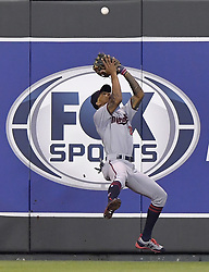 September 8, 2017 - Kansas City, MO, USA - Minnesota Twins center fielder Byron Buxton makes a catch against the wall for an out on the Kansas City Royals' Melky Cabrera to end the fifth inning at Kauffman Stadium in Kansas City, Mo., on Friday, Sept. 8, 2017. (Credit Image: © John Sleezer/TNS via ZUMA Wire)