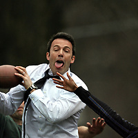 Ben Affleck in and around Boston,MA Filming and acting. plays football. playsphoto by Mark Garfinkel