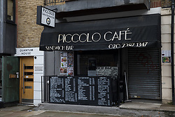 London, UK. 5th August, 2021. An view of the exterior of Piccolo Cafe in Euston Street, Bloomsbury.