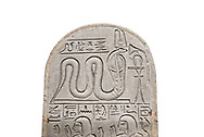 Ancient Egyptian stele dedicated by Pendua to Meretsesger, limestone, New Kingdom, 19th Dynasty, (1279-1213 BC), Deir el-Medina, Old Fund cat 1564. Egyptian Museum, Turin. white background .<br /> <br /> If you prefer to buy from our ALAMY PHOTO LIBRARY  Collection visit : https://www.alamy.com/portfolio/paul-williams-funkystock/ancient-egyptian-art-artefacts.html  . Type -   Turin   - into the LOWER SEARCH WITHIN GALLERY box. Refine search by adding background colour, subject etc<br /> <br /> Visit our ANCIENT WORLD PHOTO COLLECTIONS for more photos to download or buy as wall art prints https://funkystock.photoshelter.com/gallery-collection/Ancient-World-Art-Antiquities-Historic-Sites-Pictures-Images-of/C00006u26yqSkDOM