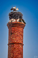 A pair of nesting white storks, on a very tall chimney stack, in Tavira, Portugal