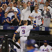 NEW YORK, NEW YORK - July 01:  Brandon Nimmo #9 of the New York Mets comes out of the dugout for a curtain call  after hitting his first MLB home run, a three run homer in the fourth inning during the Chicago Cubs Vs New York Mets regular season MLB game at Citi Field on July 01, 2016 in New York City. (Photo by Tim Clayton/Corbis via Getty Images)