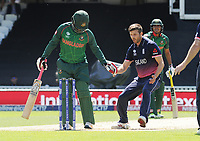 Cricket - 2017 ICC Champions Trophy - Group A: England vs. Bangladesh<br /> <br /> Mark Wood of England follows down the wicket after bowling a bouncer at The Kia Oval.<br /> <br /> COLORSPORT/ANDREW COWIE
