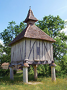 This old 'Pigeonnier du Quercy' is a Dove Cote set in a field just above the village of Lauzerte at La Ferme de Chartron. The GR65 walking path, or Way of Saint James in France, passes by this unusual building. Since Medieval times the possession of a dovecote was seen as a symbol of status and power.