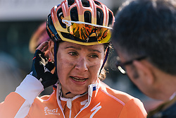 Moments after crossing the finish line, Nikki Harris is back in interview mode - Ronde van Drenthe 2016, a 138km road race starting and finishing in Hoogeveen, on March 12, 2016 in Drenthe, Netherlands.
