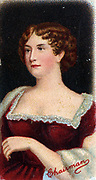 'Eliza O'Neill (1791-1872) Irish actress. Afer success in Dublin, moved to Covent Garden Theatre, London 1814. Starred as Juliet in ''Romeo and Juliet'' and as Lady Teazle  in ''School for Scandal''.  Retired 1819.'