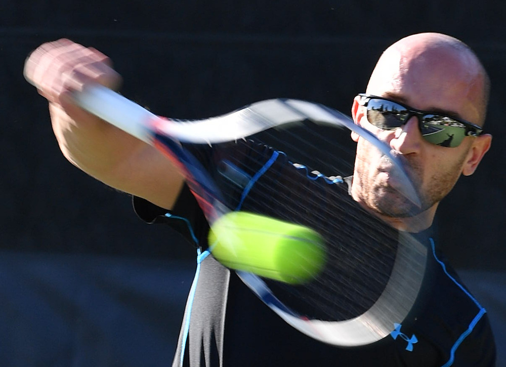 Antonio Cippo begins his pre-match warm-up at the UNIQLO Wheelchair Doubles Master in  Costa Mesa, CA November 3, 2016<br /> <br /> @2016 Rick May Photography / Sports Shooter Academy - Rick May Photography