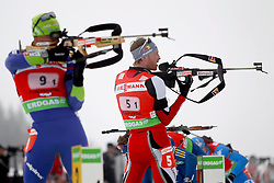 11.12.2011, Biathlonzentrum, Hochfilzen, AUT, E.ON IBU Weltcup, 2. Biathlon, Hochfilzen, Staffel Herren, im Bild Maric Janez (Team Slovenia) und Eder Simon (Team Austria) // during Team Relay  E.ON IBU World Cup 2th Biathlon, Hochfilzen, Austria on 2011/12/11. EXPA Pictures © 2011. EXPA Pictures © 2011, PhotoCredit: EXPA/ nph/ Straubmeier..***** ATTENTION - OUT OF GER, CRO *****
