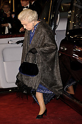 © under license to London News Pictures.  30/11/2010 HRH Queen Elizabeth  attends the World Premiere and Royal Film Performance of The Cronicles of Narnia: The Voyage of The Dawn Treader at  Leicester Square, London, 30 November 2010. Picture credit should read: Julie Edwards/London News Pictures