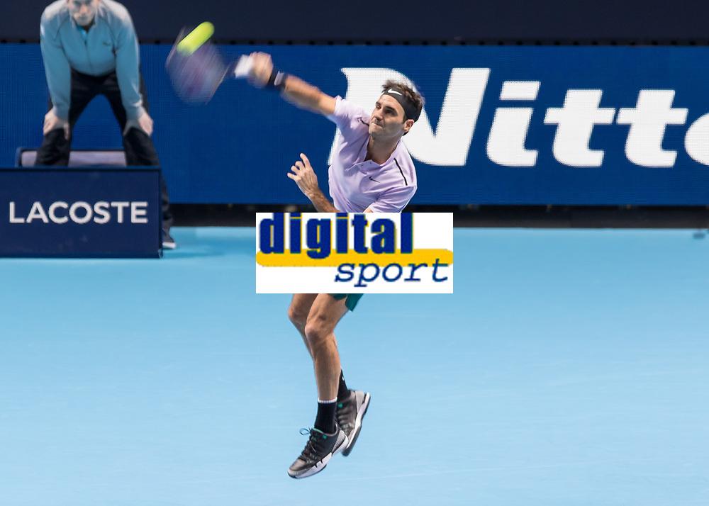 Tennis - 2017 Nitto ATP Finals at The O2 - Day Five<br /> <br /> Group Boris Becker Singles: Roger Federer (Switzerland) Vs Marin Cilic (Croatia)<br /> <br /> Roger Federer (Switzerland) serves at the O2 Arena<br /> <br /> COLORSPORT/DANIEL BEARHAM