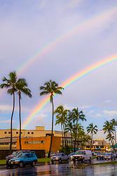 double rainbows over the street of Honolulu, Oahu, Hawaii, USA