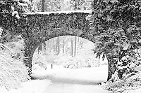A foot bridge in a snow covered park in black and white