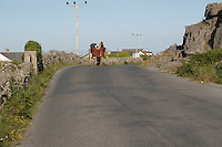 Horse and cart travelling on Inis Mor Aran Islands County Galway Ireland