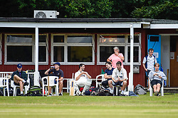 © Licensed to London News Pictures. 11/07/2020. CHORLEYWOOD, UK.  Members of Chorleywood Cricket Club take part in their first friendly match on the day that the UK government relaxed coronavirus pandemic lockdown restrictions for a several outdoor activities.  The amateur club have been playing matches on The Common at Chorleywood in Hertfordshire for nearly 200 years.  Photo credit: Stephen Chung/LNP