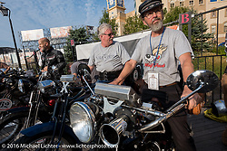 Jeff Tiernan (L) of New York on his 1913 Henderson alongside Brian Pease on his 4-cylinder 1916 Henderson on the Atlantic City boardwalk at the start of the Motorcycle Cannonball Race of the Century. Stage-1 from Atlantic City, NJ to York, PA. USA. Saturday September 10, 2016. Photography ©2016 Michael Lichter.