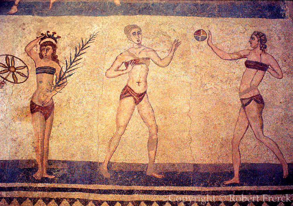 ITALY, ROMAN HISTORY Roman Mosaic of women exercising from hunting lodge in Sicily