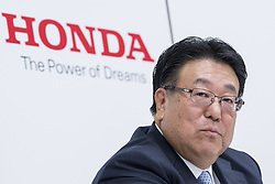 April 28, 2017 - Tokyo, Tokyo, Japan - Seiji Kuraishi, executive vice president of Honda Motor Co., reports consolidated financial result for the fiscal fourth quarter and the fiscal years ended march 31, 2017. .Honda's consolidate profit for the period attributable to owners of the parent for the fiscal fourth quarter ended March 31, 2017 totaled JPY 95.9 billion (USD 855 million), an increase of JPY 184.4 billion (USD 1,688 million) from the same period last years. Earnings per share attrubutable to owners of the parent for the quarter amounted to JPY 53.24 (USD 0.47), an increase of JPY 105.09 (USD 0.94) from loss per share attributable to owners of the parent for the corresponding period last year, when in amounted to JPY 51.85. (Credit Image: © Alessandro Di Ciommo via ZUMA Wire)