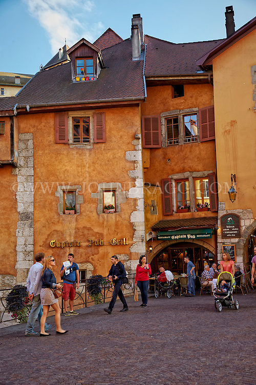 View outside of the Irish Captain Grill Pub, located a long the Thiou Canal in the Haute-Savoie, Old Town Annecy, France (Vertical).