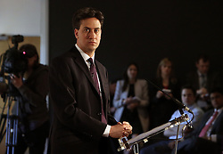 © Licenced to London News Pictures. 12/03/2014. London. UK.  <br /> Labour Party leader Ed Miliband is pictured giving a speech on the economy at London Business School in London, March 12th 2014. The leader of the opposition has said that a future Labour government would not call an in/out referendum on the UK's membership of the EU unless it was being asked to transfer more powers to Brussels.<br /> Photo Credit: Susannah Ireland