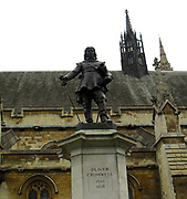 Houses of Parliament in London. Statue of Oliver Cromwell (Lord Protector (ruler of England) 1649-1659