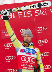 14-12-2012 SKIEN: FIS WORLDCUP SUPER G: VAL GARDENA<br /> 1st place Aksel Lund Svindal of Norway celebrate on Podium of Super G of the FIS Ski Alpine Worldcup at Sasslong course<br /> ***NETHERLANDS ONLY***<br /> ©2012-FotoHoogendoorn.nl