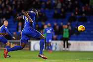 Cardiff City's Sol Bamba powers in a header to score his teams 1st goal to make it 1-0. EFL Skybet championship match, Cardiff city v Hull city at the Cardiff city stadium in Cardiff, South Wales on Saturday 16th December 2017.<br /> pic by Carl Robertson, Andrew Orchard sports photography.