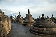 Statue of Buddha and Stupas Borobudur, Borobudur, Kedu Valley, South Central Java, Java, Indonesia, Southeast Asia