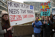 NHS Junior Doctors go on all out strike at St Thomas' Hospital, Westminster, in a dispute between themselves and the BMA and the Government over the imposition of a new contract on April 26th 2016 in London, United Kingdom. This is the first time that National Health Service staff have withdrawn emergency care as their dispute over terms continues in this latest two day strike action.