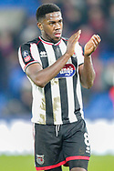 Grimsby Town midfielder Mitch Rose (8) applauds the Grimsby Town away supporters after The FA Cup 3rd round match between Crystal Palace and Grimsby Town FC at Selhurst Park, London, England on 5 January 2019.