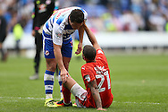 Yann Kermorgant of Reading talks to Nahki Wells of Huddersfield Town after the final whistle. EFL Skybet  championship match, Reading  v Huddersfield Town at The Madejski Stadium in Reading, Berkshire on Saturday 24th September 2016.<br /> pic by John Patrick Fletcher, Andrew Orchard sports photography.