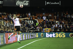 April 6, 2017 - Valencia, Comunidad Valenciana, Spain - Valencia CF vs Real Celta de Vigo - La Liga Matchday 30 - Estadio Mestalla, in action during the game -- Dani Parejo (C) midfielder from VAlencia CF jumps for a ball near the field of play bounds (Credit Image: © Vwpics/VW Pics via ZUMA Wire/ZUMAPRESS.com)