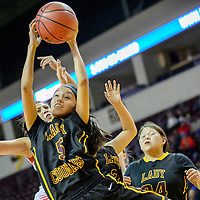 031015  Adron Gardner/Independent<br /> <br /> Tohatchi Cougar Kalian Mitchell (5) grabs a rebound from the Eunice Cardinals during the New Mexico state basketball tournament at the Santa Ana Star Center  in Rio Rancho Tuesday.